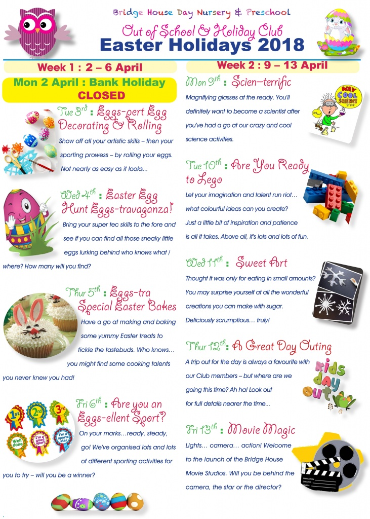 Holiday activities Easter Hols 2018 for web